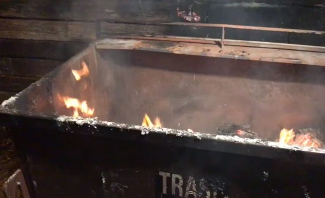 A St. Louis dumpster fire, captured on video by the St. Louis Fire Department. - ST. LOUIS FIRE DEPARTMENT TWITTER