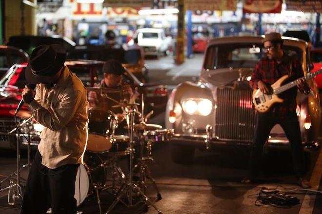 Reggae band Chosen Few Children perform in East Los Angeles. - DAVID KUHN, COURTESY OF OSCILLOSCOPE LABORATORIES
