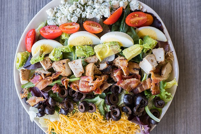 """The """"Forest Park Cobb Salad"""" comes complete with bleu and cheddar cheeses and hard-boiled egg. - MABEL SUEN"""