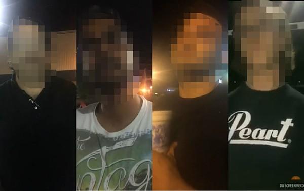 Four men exposed in a livestreamed sting operation by Truckers Against Predators. - SCREENSHOTS VIA TRUCKERSAGAISTPREDATORS