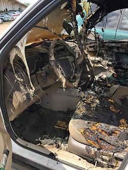 Edwards' burned truck. - COURTESY OF ANTHONY EDWARDS