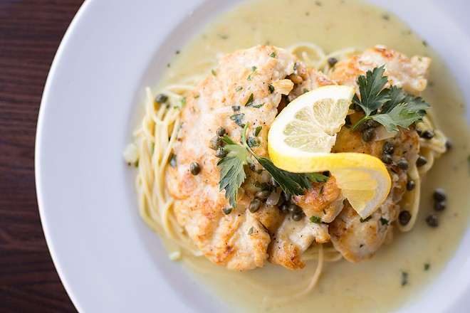 """Pollo Piccata"" takes its flavor from capers, white wine, lemon and garlic sauce. - MABEL SUEN"