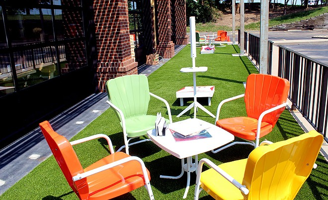 One of the two outdoor patio areas. - LEXIE MILLER