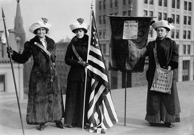 Did these gals chain themselves to lampposts so your sorry ass could skip the primary? We think not. - FLICKR/OREGON STATE UNIVERSITY