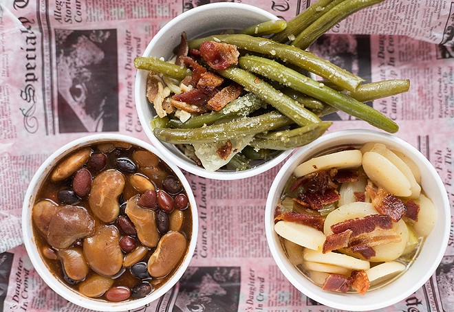 Side options include maple-bacon green beans, baked beans and a terrific German potato salad. - MABEL SUEN