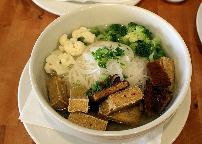 The Mien Chay vegetarian pho with tofu, veggie meats, broccoli and cauliflower ($9.95). - LEXIE MILLER