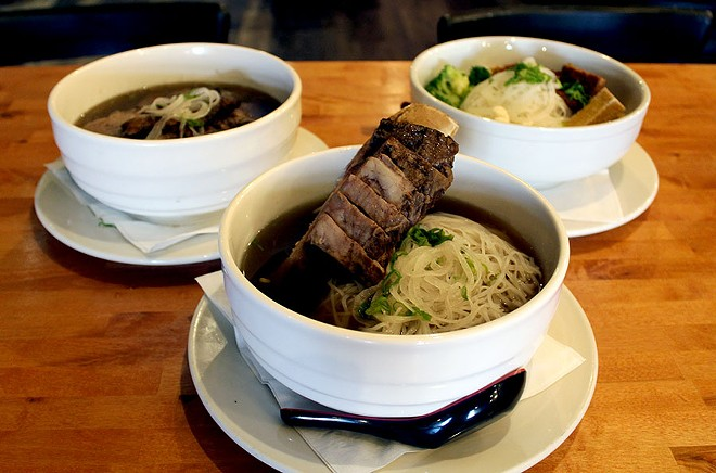 The beef rib pho is served with a 16 ounce rib in the soup. - LEXIE MILLER