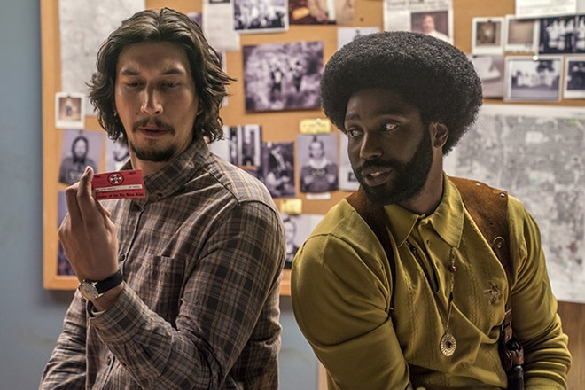 Flip Zimmerman (Adam Driver) and Ron Stallworth (John David Washington) tag-team David Duke. - DAVID LEE/FOCUS FEATURES