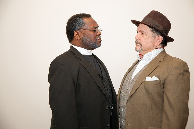 Stephen Kumalo and James Jarvis (Kenneth Overton and Tim Schall) play grieving fathers in Lost in the Stars. - JOHN LAMB/UNION AVENUE OPERA