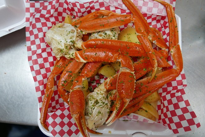 Crab legs are huge and meaty. - DESI ISAACSON