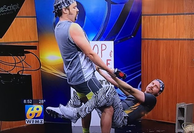 Pickett and Prueher got booked on three news shows claiming to be a strongman duo called Chop & Steele. - SCREENSHOT