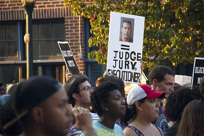 Protests erupted in the city after former St. Louis police officer Jason Stockley was found 'not guilty' of murder. - DANNY WICENTOWSKI