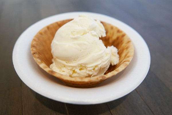 Vanilla ice cream in the waffle cup. - DESI ISAACSON