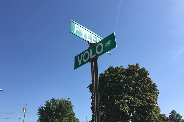 "The other side of the sign still shows ""Volo,"" proving just how uninspiring this entire sign once was before it became Art. - JAIME LEES"