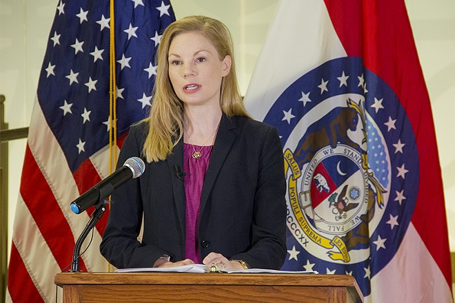 Missouri Auditor Nicole Galloway, during a press conference Monday. - DANNY WICENTOWSKI