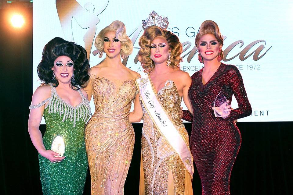 Miss Gay America, Deva Station (second from right), will crown her successor in St. Louis this weekend.