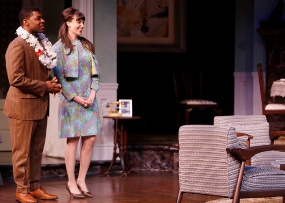 Richard Prioleau and Shannon Marie Sullivan are the happy couple whose parents don't approve of their interracial romance in the Rep's Guess Who's Coming to Dinner? - PHOTO BY JERRY NAUNHEIM JR.