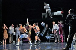 Victor Ryan Robertson, Aubrey Allicock, Arthur Woodley, Robert Orth and members of the company of Opera Theatre of Saint Louis' 2013 world premiere of Champion. - KEN HOWARD