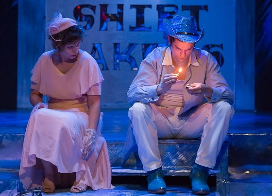 The Girl (Em Piro) and Ben ( Paul Cereghino) search for freedom from the confines of modern life in Sudden View Production's staging of Tennessee Williams' Stairs to the Roof. - PROPHOTOSTL.COM