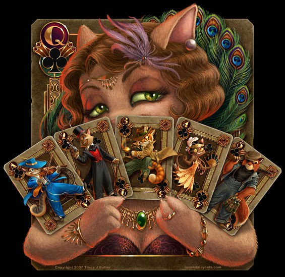 The Lackadaisy crew, as depicted on playing cards held by Mitzi, the speakeasy's owner. - COURTESY OF TRACY BUTLER