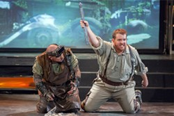 Marc Schapman and Clay Hilley in an ambitious staging of Siegfried. - RON LINDSEY