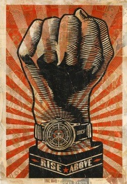 "Shepard Fairey's ""Rise Above Fist,"" courtesy of The Philip Slein Gallery"