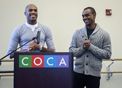 Antonio (left) and Kirven Douthit-Boyd at a press conference announcing their new roles at COCA. - KELLY GLUECK