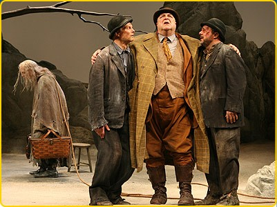 Bill Irwin, John Goodman, Nathan Lane (foreground, L to R) and John Glover (far L, in background) wait for GOD-oh. - JOAN MARCUS