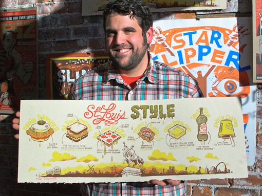 """""""St. Louis Style"""" indeed. Dan Zettwoch's local interests and stylized illustrations immortalize St. Louis' homegrown delights: brain sandwich, St. Paul sandwich, St. Louis style pizza, toasted ravioli, gooey butter cake, Vess soda and frozen custard. View a 20-photo slideshow here. - PHOTO: JASON STOFF"""