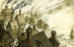 London, the Big Smoke of Dickens' boyhood, as rendered by John Hendrix.