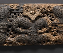 AOTEAROA (NEW ZEALAND); DETAIL OF  STOREHOUSE OUTER THRESHOLD -PAEPAE, 19TH CENTURY OR EARLIER; WOOD, TRACES OF RED OCHRE; 12 1/2 X 95 9/16 X 3 9/16 INCHES; NATIONAL GALLERY OF AUSTRALIA, CANBERRA.