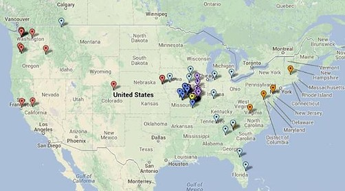 A map representing the location of every one who bid on the auction.