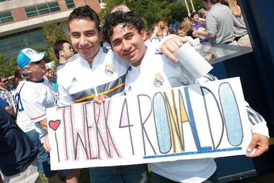 Fans at the Real Madrid v. Inter Milan game at the Edward Jones Dome. - JON GITCHOFF