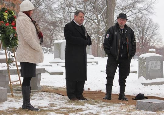 """Christian Matero (right) refers to Burroughs as""""Uncle Bill"""" and says the writer influenced his love of punk rock. Richard Lay (center) spoke during the memorial service. - DANNY WICENTOWSKI"""