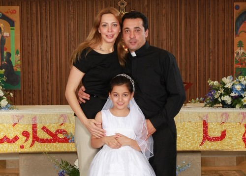 Deacon Wissam Akiki with his wife, Manal, and daughter, Perla. - PHOTOS COURTESY OF ST. RAYMOND'S MARONITE CATHEDRAL