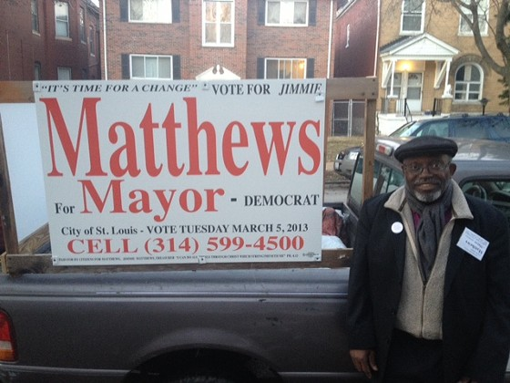 Jimmie Matthews by his campaign truck in Tower Grove last month. - SAM LEVIN