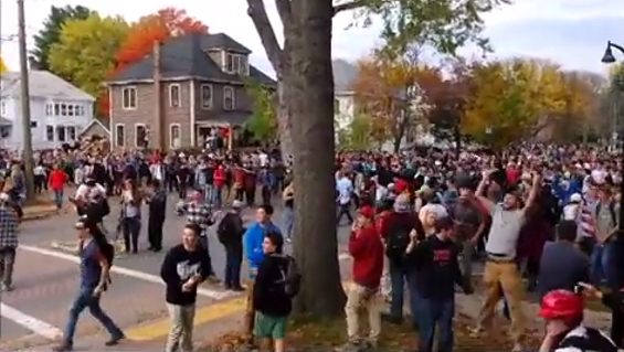 Keene State students start to get rowdy before violence and rioting breaks out at the Keene Pumpkin Festival. - YOUTUBE