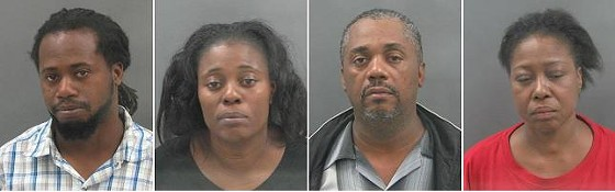 Police say the suspects were attempting to steal electric wheelchairs and a walker. They are (l to r) Casey Lowery, Janice Skiffer, Carl Brown and Willene Watson.