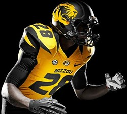 One of Mizzou's two new helmets features a large tiger emblem. - MUTIGERS.COM