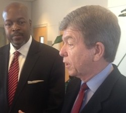 Roy Blunt talks gun control in February. - SAM LEVIN