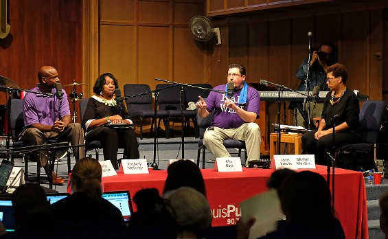 Mayor James Knowles, second from the left, at an NPR forum. Michel Martin, right. - AUGUST JENNEWEIN, COURTESY UMSL