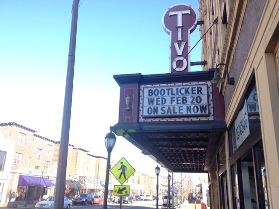Current sign at the Tivoli promoting Bootlicker. - SAM LEVIN
