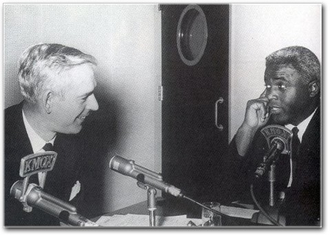 Jack Buck interviewing Jackie Robinson.