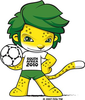 Zakumi, the official mascot of the 2010 World Cup tournament. He's a green-haired leopard, in case you couldn't tell. - IMAGE SOURCE