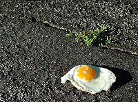 Not mentioned by the Health Department: Never eat an egg fried on the sidewalk. - FLICKR.COM/PHOTOS/POCKAFWYE