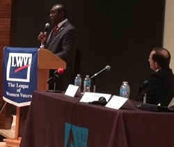Mayor Francis Slay watches Lewis Reed at a recent debate. - SAM LEVIN
