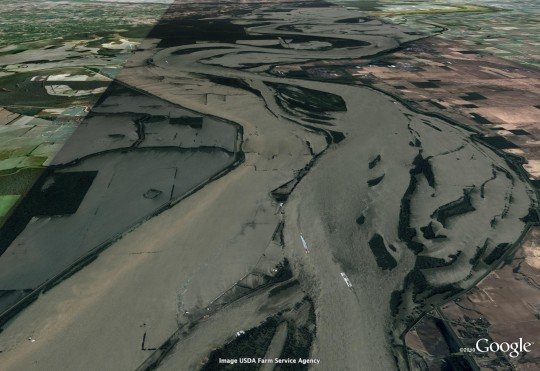 This photo, taken within the last two days, shows the river overwhelming its banks. - COURTESY OF GOOGLE AND GEOEYE