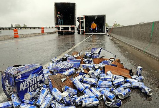 Not, alas, the actual alcohol accidentally dumped on Interstate 255 -- but don't we wish it were! - IMAGE VIA