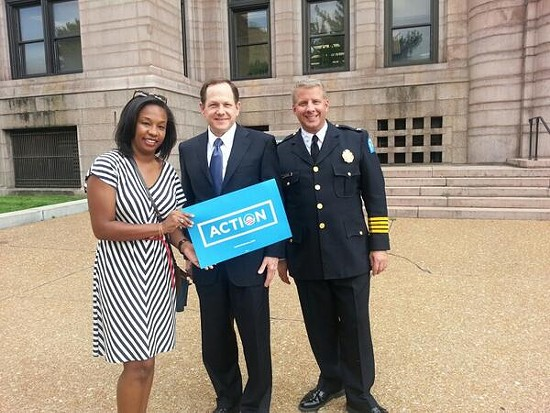 Police Chief Sam Dotson and Mayor Francis Slay at last week's Organizing for Action gun control rally. - VIA TWITTER / @CHIEFSLMPD