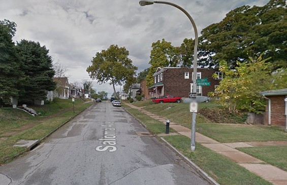 The 5700 block of Saloma Avenue, where Jermaine Jones was shot to death. Police found gunshot damage to an unoccupied house and a vehicle behind the camera's perspective. - GOOGLE MAPS